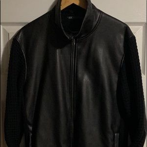 Armani Exchange Men's Large Faux Leather Sweater